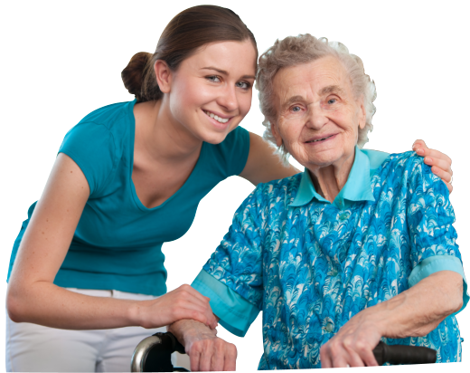 caregiver and an old woman sitting on wheelchair