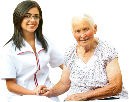 caregiver and an old woman sitting while holding their both hands